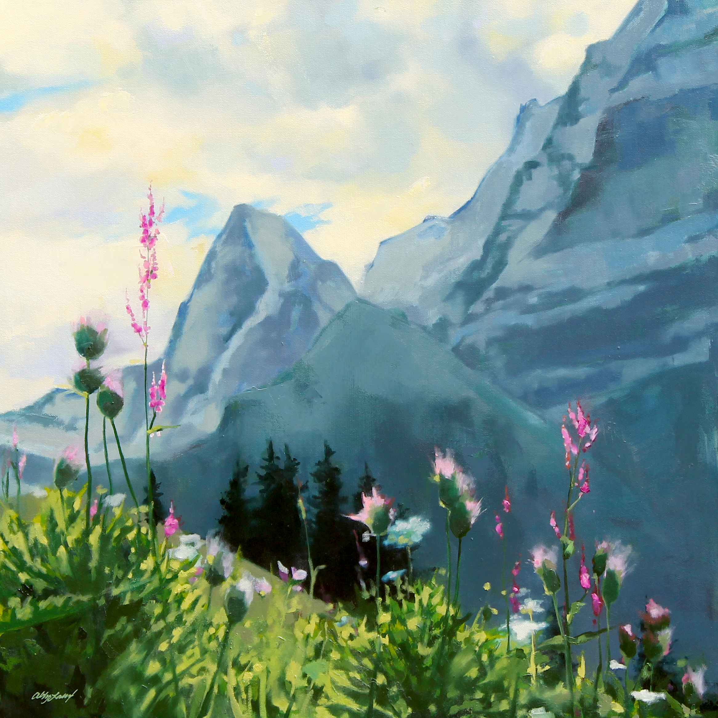 Blue Ridge Oil Painting Of Swiss Alpountain Flowers